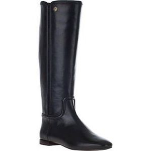 Tory Burch Irene Riding Boots Black Leather 7.5